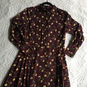 Banana Republic Dress, Side Zip, Lined, Pleating